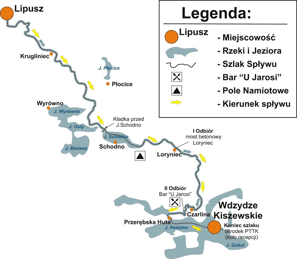mapa spływu kajakowego rzeką Wda